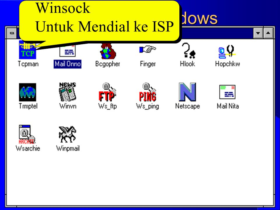 Computer Network Research Group ITB Internet in Windows Winsock Untuk Mendial ke ISP