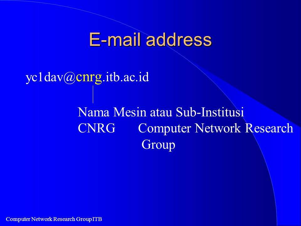 Computer Network Research Group ITB E-mail address yc1dav@ cnrg.itb.ac.id Nama Mesin atau Sub-Institusi CNRGComputer Network Research Group