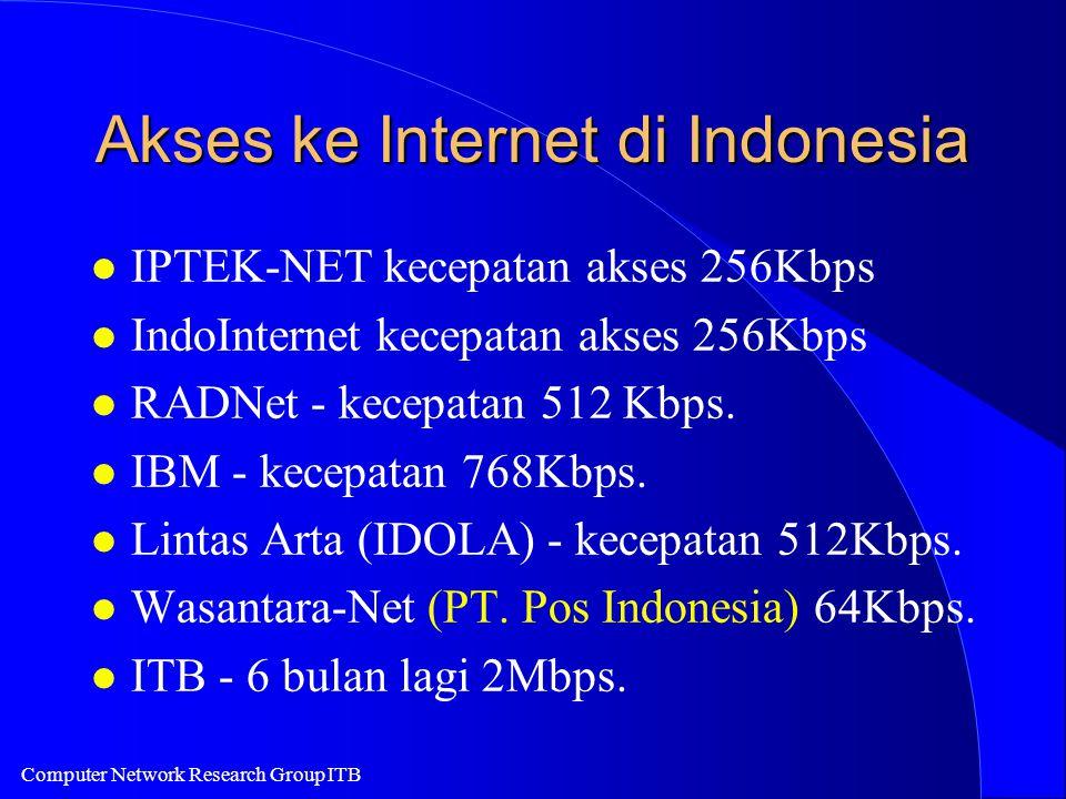 Computer Network Research Group ITB Akses ke Internet di Indonesia l IPTEK-NET kecepatan akses 256Kbps l IndoInternet kecepatan akses 256Kbps l RADNet - kecepatan 512 Kbps.
