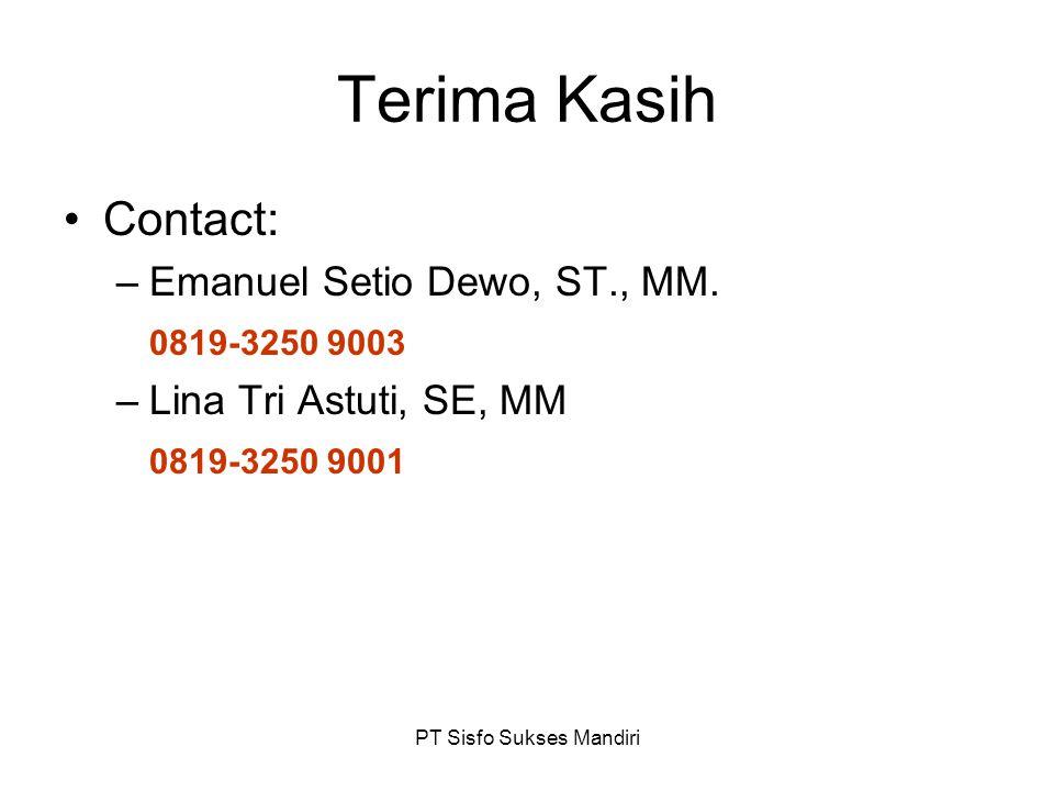 PT Sisfo Sukses Mandiri Terima Kasih Contact: –Emanuel Setio Dewo, ST., MM. 0819-3250 9003 –Lina Tri Astuti, SE, MM 0819-3250 9001