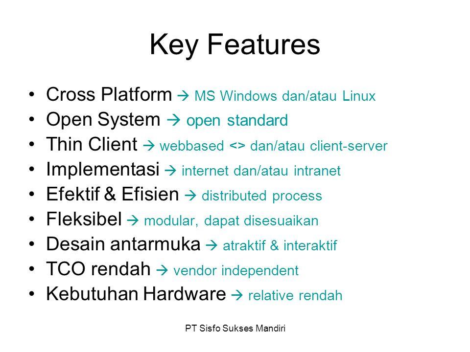 PT Sisfo Sukses Mandiri Key Features Cross Platform  MS Windows dan/atau Linux Open System  open standard Thin Client  webbased <> dan/atau client-server Implementasi  internet dan/atau intranet Efektif & Efisien  distributed process Fleksibel  modular, dapat disesuaikan Desain antarmuka  atraktif & interaktif TCO rendah  vendor independent Kebutuhan Hardware  relative rendah