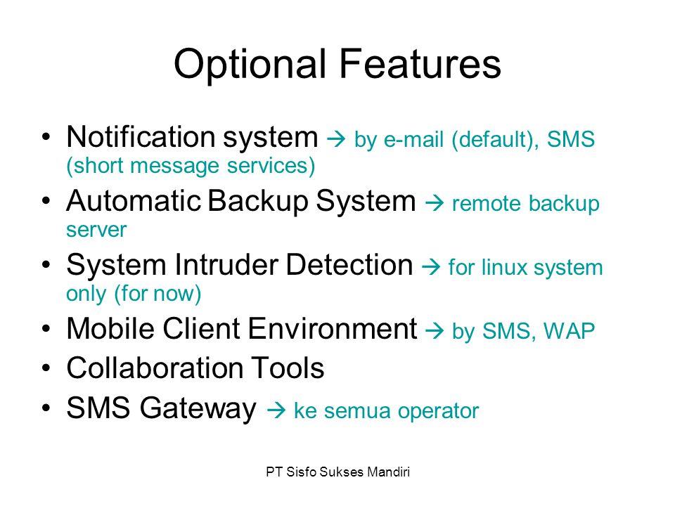 PT Sisfo Sukses Mandiri Cross Platform – Open System Teknologi  Open System, Cross-platform Server –O/S  MS Windows / GNU-Linux –S/W  LAMP atau WIMP/WAMP Client –O/S  MS Windows / GNU-Linux –S/W  IE, NetScape, Mozilla FireFox, Konqueror H/W PC  Intel, AMD, Cyrix, Transmeta Menggunakan teknologi standar dunia dan telah terbukti handal dan telah digunakan di seluruh dunia