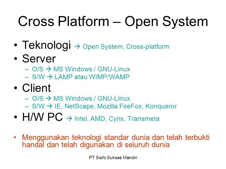 PT Sisfo Sukses Mandiri Cross Platform – Open System Teknologi  Open System, Cross-platform Server –O/S  MS Windows / GNU-Linux –S/W  LAMP atau WIM