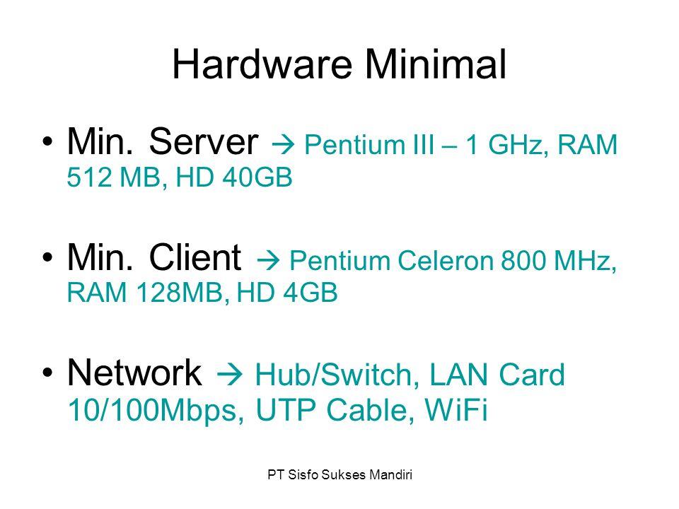 PT Sisfo Sukses Mandiri Hardware Minimal Min. Server  Pentium III – 1 GHz, RAM 512 MB, HD 40GB Min. Client  Pentium Celeron 800 MHz, RAM 128MB, HD 4