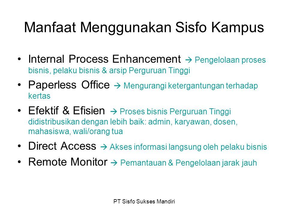 PT Sisfo Sukses Mandiri Manfaat Menggunakan Sisfo Kampus Internal Process Enhancement  Pengelolaan proses bisnis, pelaku bisnis & arsip Perguruan Tin