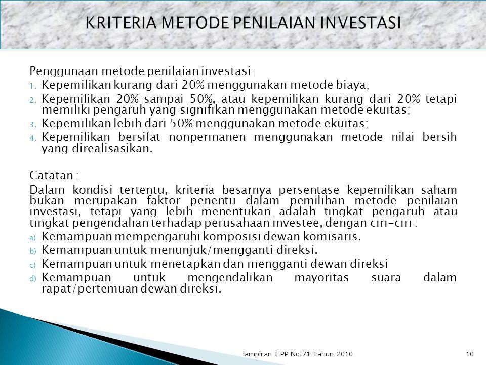 Penggunaan metode penilaian investasi : 1. Kepemilikan kurang dari 20% menggunakan metode biaya; 2. Kepemilikan 20% sampai 50%, atau kepemilikan kuran