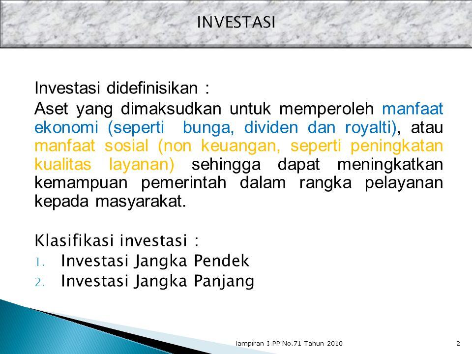 Investasi didefinisikan : Aset yang dimaksudkan untuk memperoleh manfaat ekonomi (seperti bunga, dividen dan royalti), atau manfaat sosial (non keuang