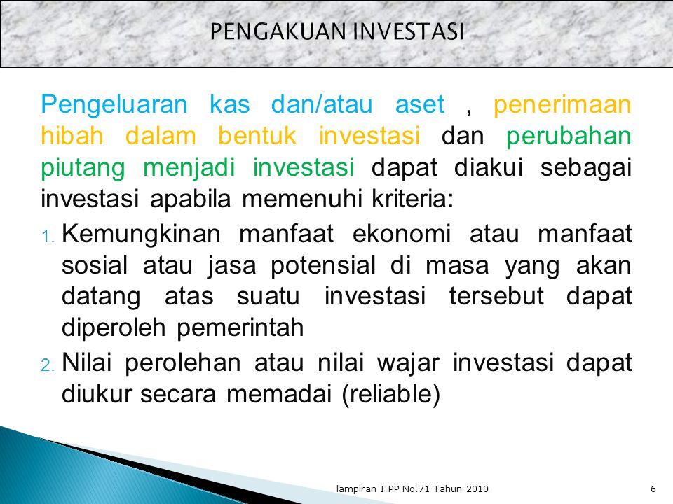 Pengeluaran kas dan/atau aset, penerimaan hibah dalam bentuk investasi dan perubahan piutang menjadi investasi dapat diakui sebagai investasi apabila