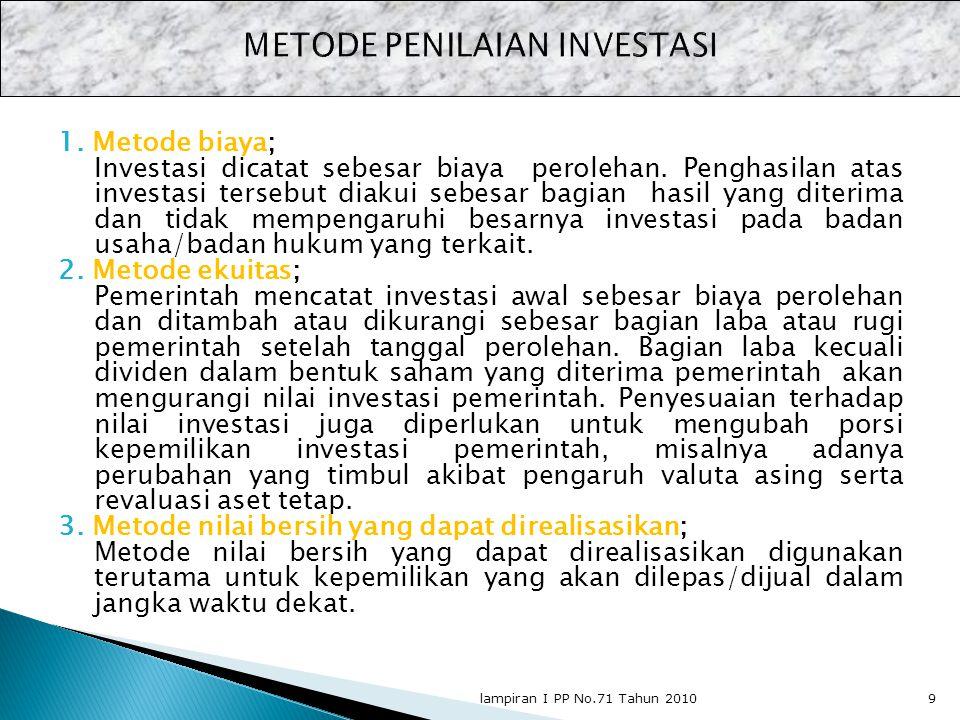 1. Metode biaya; Investasi dicatat sebesar biaya perolehan. Penghasilan atas investasi tersebut diakui sebesar bagian hasil yang diterima dan tidak me