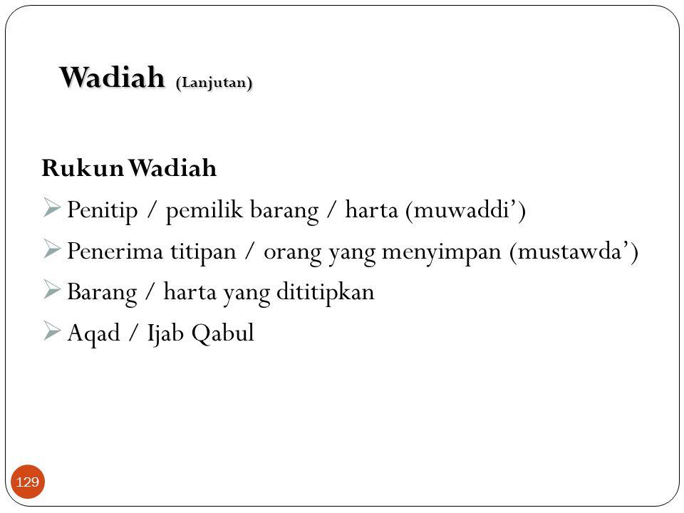Skema Wadiah Yad adh-Dhamanah Nasabah (penitip) Bank (Penyimpan) Nasabah Pembiayaan 1.Titip dana 4. Beri bonus 3. Bagi hasil 2. Pemanfaatan dana Wadia
