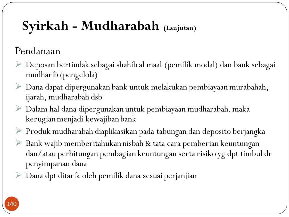 Skema Pembiayaan Mudharabah Rugi Laba 60 % 40 % 0 %100 % Repayment of Capital 100 % modalmanagement Syirkah - Mudharabah (Lanjutan) Bank 139