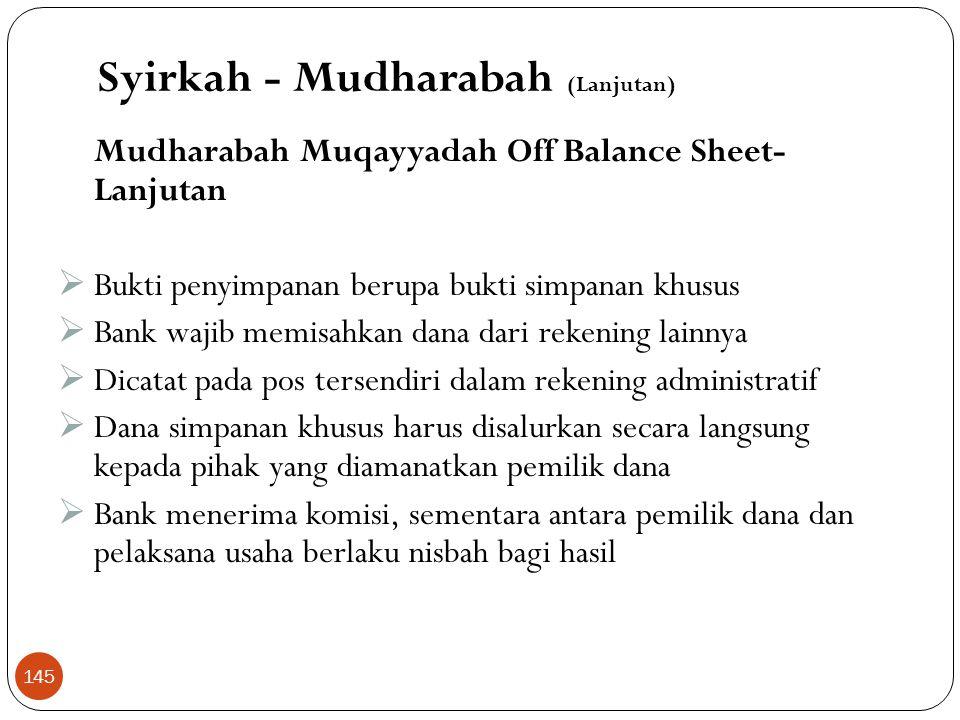 Mudharabah Muqayyadah On Balance Sheet  Merupakan simpanan khusus (restricted investment)  Pemilik dana menetapkan syarat tertentu yang harus dipatu