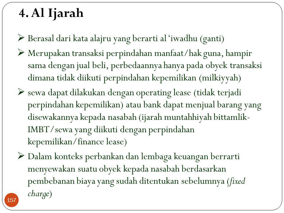 Skema Istishna' Nasabah Konsumen (pembeli) Produsen Pembuat Bank Penjual 1.Pesan 2. Pesan, bayar di muka, bayar sesuai termin Al Bai' – Istishna (Lanj