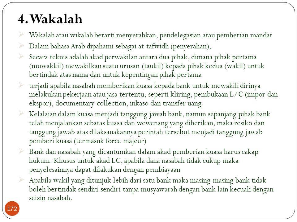 Rahn (Lanjutan) Skema Rahn Nasabah Jaminan/Marhun 1. Titip + biaya pemeliharaan Bank 4. Qardh 3. Akad 171