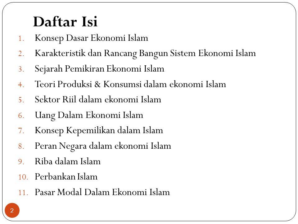 Daftar Isi 1.Konsep Dasar Ekonomi Islam 2.