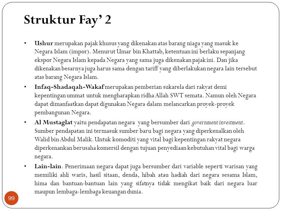 Struktur Fay' 1 Kharaj: Hasanuzzaman mengungkapkan bahwa pajak tanah ini terbagi menjadi dua jenis, yaitu pajak Ushr dan pajak Kharaj. Pajak ushr dike