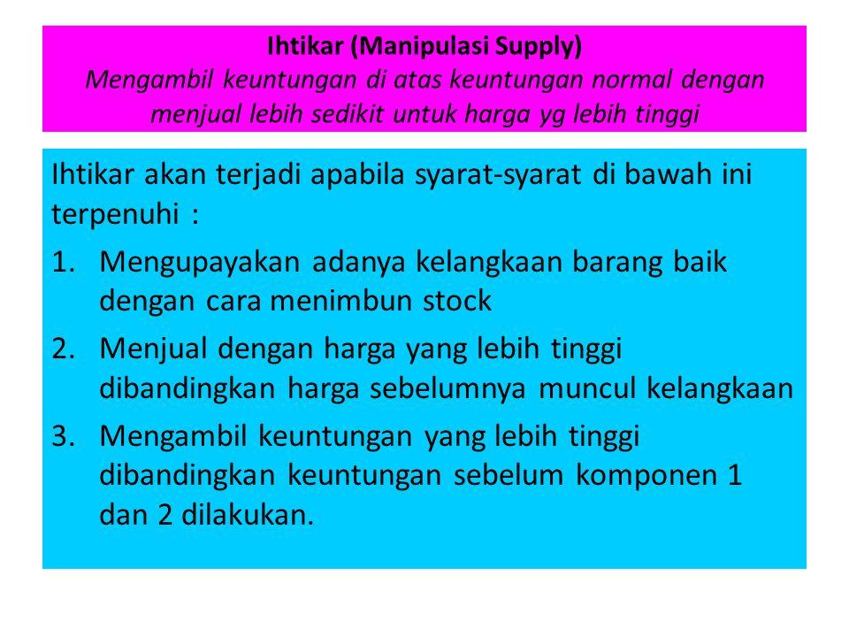 Ihtikar (Manipulasi Supply) Mengambil keuntungan di atas keuntungan normal dengan menjual lebih sedikit untuk harga yg lebih tinggi Ihtikar akan terja
