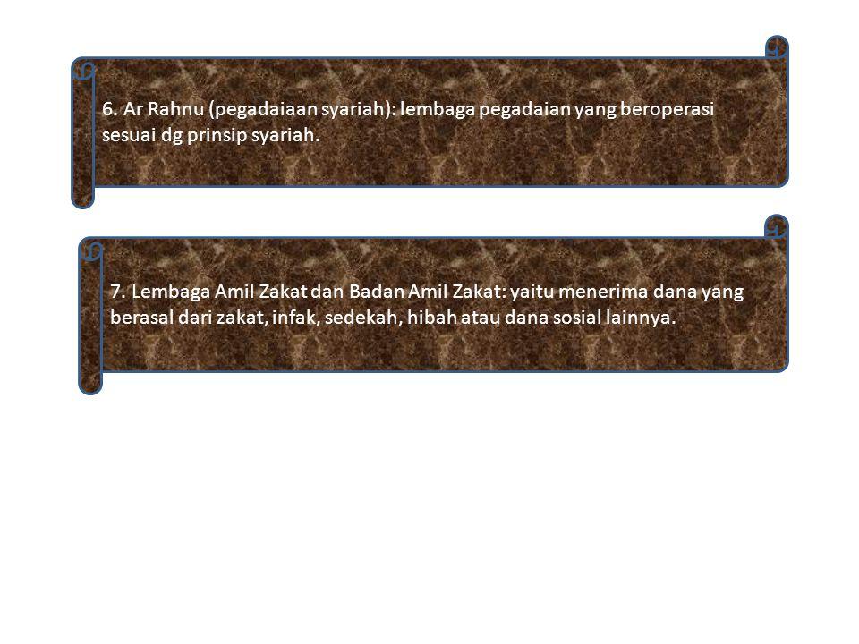 2. Baitulmal wat tamwil (BMT): lembaga keuangan syariah yang menghimpun dana dan menyalurkan dana kepada anggotanya dan biasanya beroperasi dalam skal