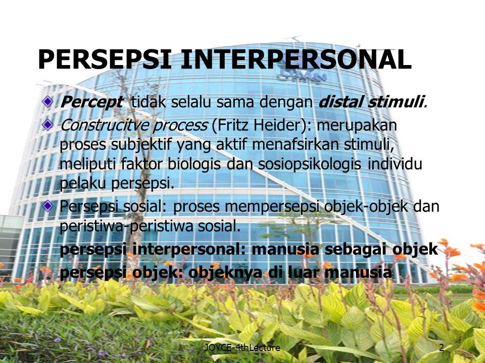 PERSEPSI INTERPERSONAL Percept tidak selalu sama dengan distal stimuli.
