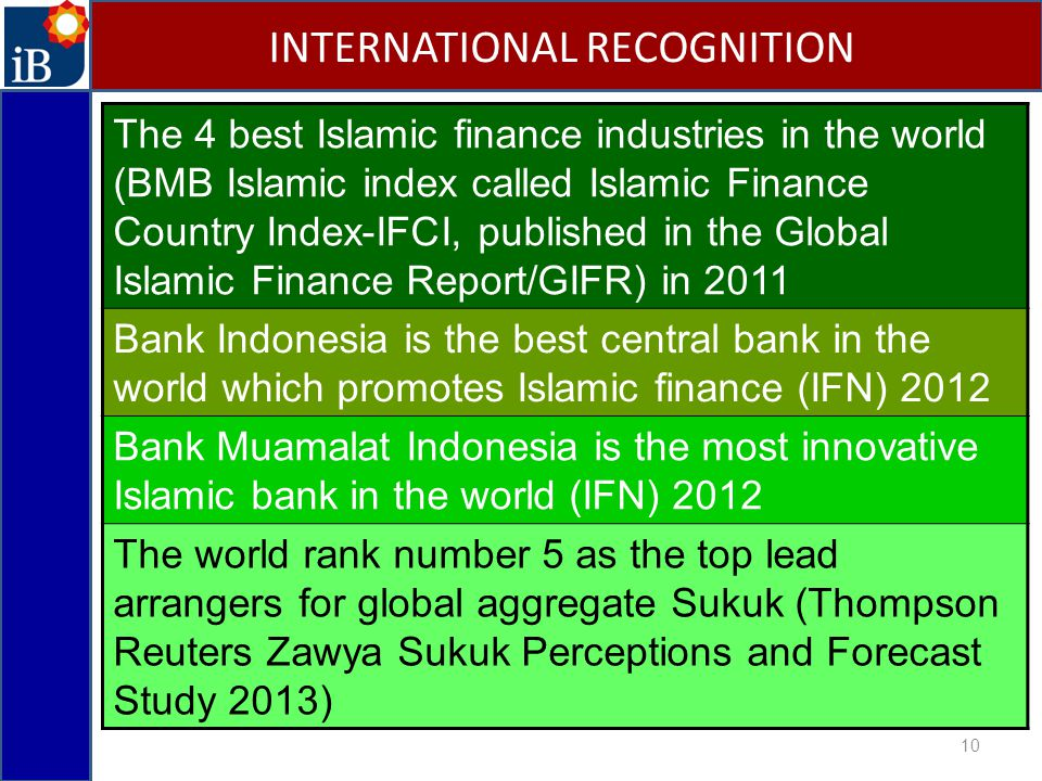 10 INTERNATIONAL RECOGNITION The 4 best Islamic finance industries in the world (BMB Islamic index called Islamic Finance Country Index-IFCI, published in the Global Islamic Finance Report/GIFR) in 2011 Bank Indonesia is the best central bank in the world which promotes Islamic finance (IFN) 2012 Bank Muamalat Indonesia is the most innovative Islamic bank in the world (IFN) 2012 The world rank number 5 as the top lead arrangers for global aggregate Sukuk (Thompson Reuters Zawya Sukuk Perceptions and Forecast Study 2013)