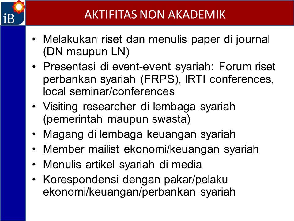 Melakukan riset dan menulis paper di journal (DN maupun LN) Presentasi di event-event syariah: Forum riset perbankan syariah (FRPS), IRTI conferences,