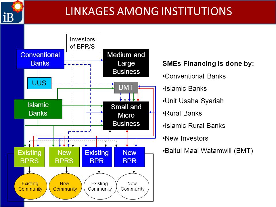 Medium and Large Business Small and Micro Business Conventional Banks Islamic Banks UUS Existing BPRS New BPRS New BPR Existing BPR Existing Community Existing Community New Community New Community Investors of BPR/S SMEs Financing is done by: Conventional Banks Islamic Banks Unit Usaha Syariah Rural Banks Islamic Rural Banks New Investors Baitul Maal Watamwill (BMT) BMT LINKAGES AMONG INSTITUTIONS
