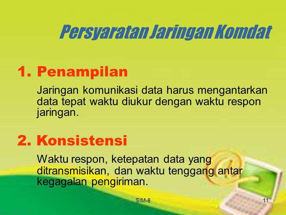 SIM-811 Persyaratan Jaringan Komdat 1.Penampilan Jaringan komunikasi data harus mengantarkan data tepat waktu diukur dengan waktu respon jaringan. 2.