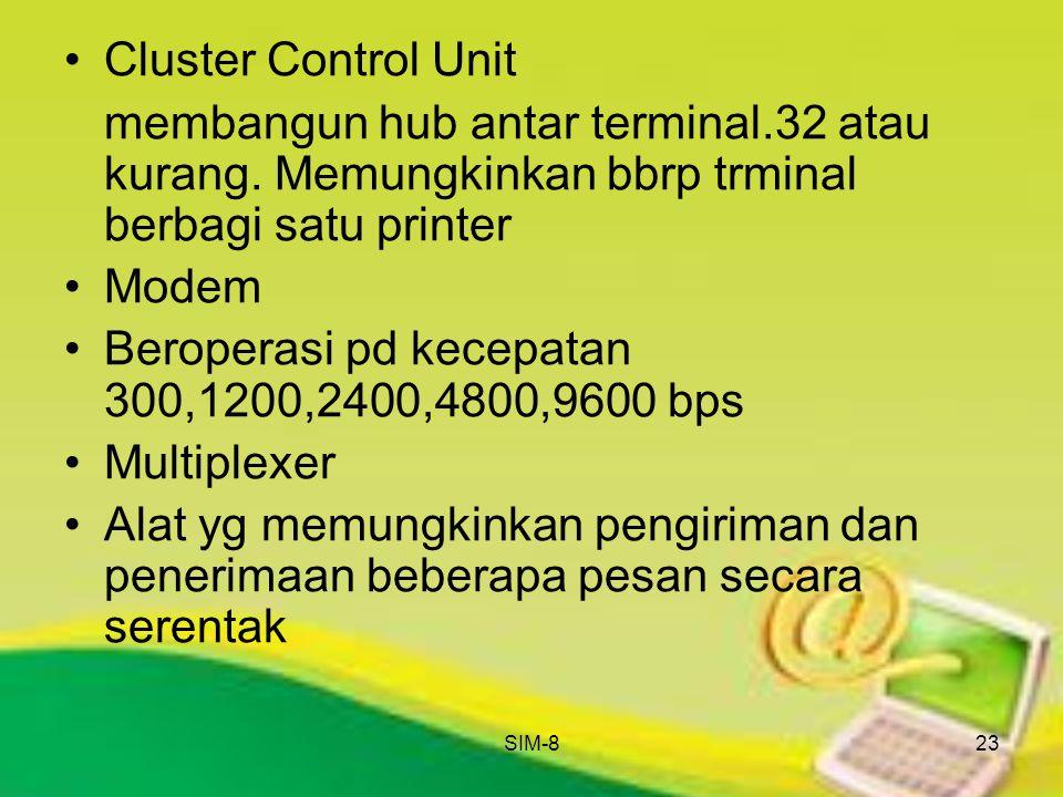 SIM-823 Cluster Control Unit membangun hub antar terminal.32 atau kurang. Memungkinkan bbrp trminal berbagi satu printer Modem Beroperasi pd kecepatan