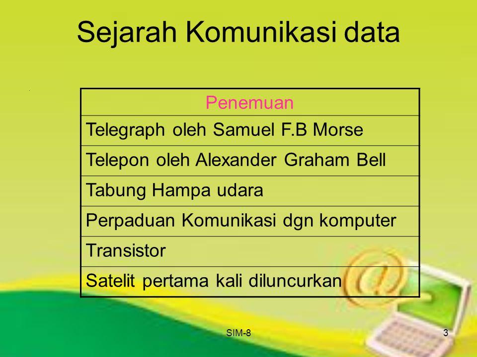 SIM-83 Sejarah Komunikasi data. Penemuan Telegraph oleh Samuel F.B Morse Telepon oleh Alexander Graham Bell Tabung Hampa udara Perpaduan Komunikasi dg