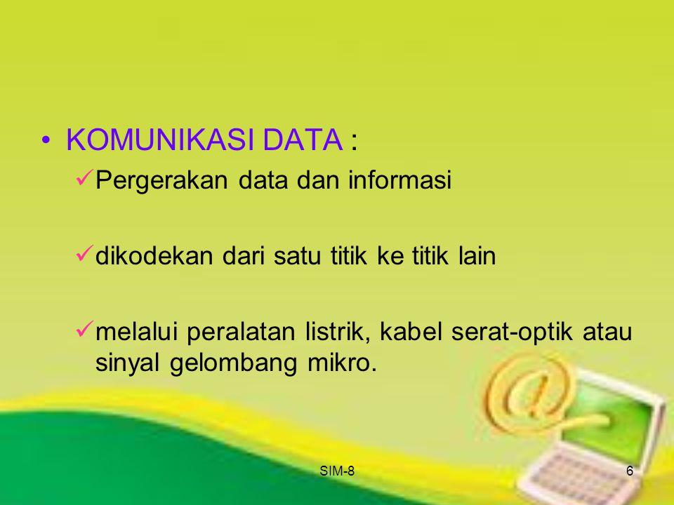 SIM-86 KOMUNIKASI DATA : Pergerakan data dan informasi dikodekan dari satu titik ke titik lain melalui peralatan listrik, kabel serat-optik atau sinya