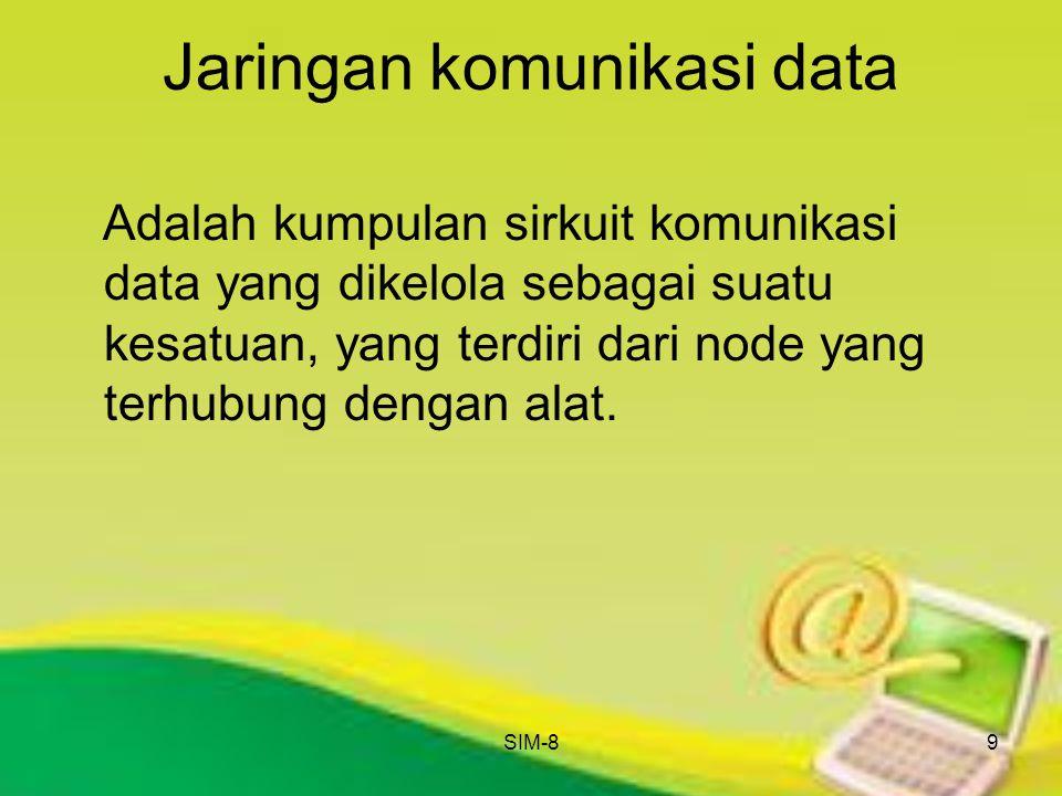 SIM-89 Jaringan komunikasi data Adalah kumpulan sirkuit komunikasi data yang dikelola sebagai suatu kesatuan, yang terdiri dari node yang terhubung de