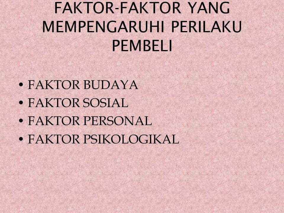 FAKTOR-FAKTOR YANG MEMPENGARUHI PERILAKU PEMBELI FAKTOR BUDAYA FAKTOR SOSIAL FAKTOR PERSONAL FAKTOR PSIKOLOGIKAL