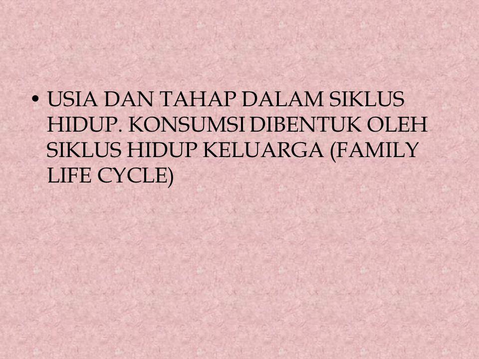 USIA DAN TAHAP DALAM SIKLUS HIDUP. KONSUMSI DIBENTUK OLEH SIKLUS HIDUP KELUARGA (FAMILY LIFE CYCLE)