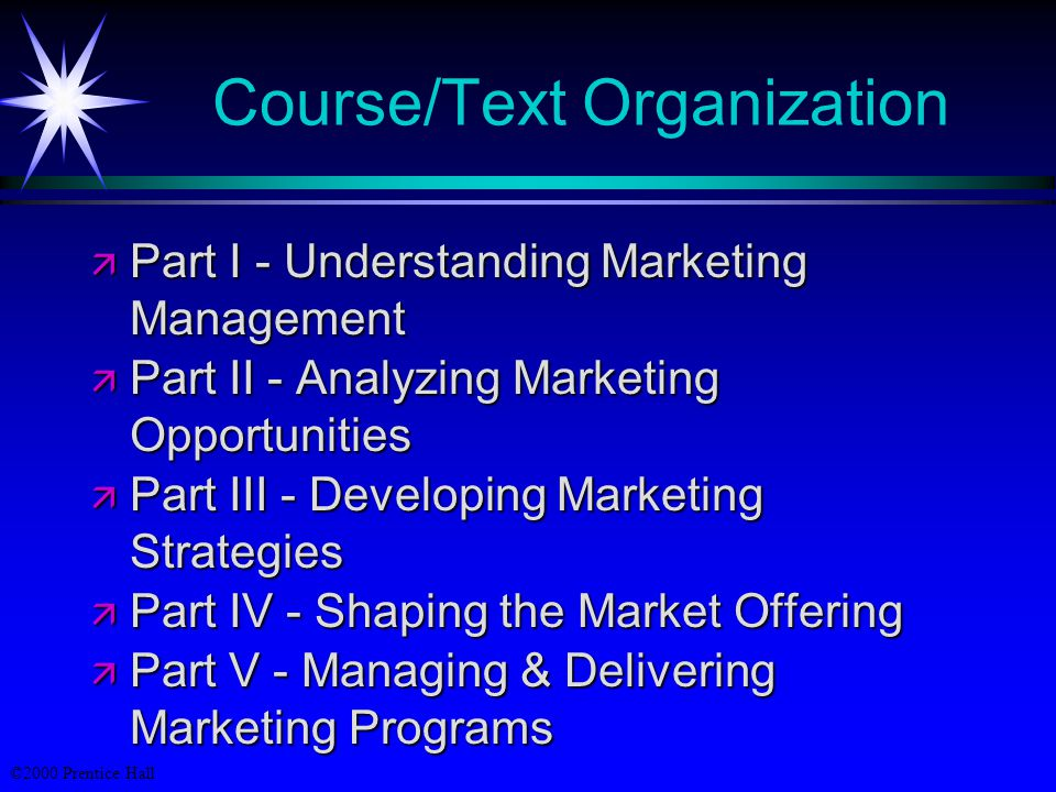 ©2000 Prentice Hall Course/Text Organization  Part I - Understanding Marketing Management  Part II - Analyzing Marketing Opportunities  Part III - Developing Marketing Strategies  Part IV - Shaping the Market Offering  Part V - Managing & Delivering Marketing Programs