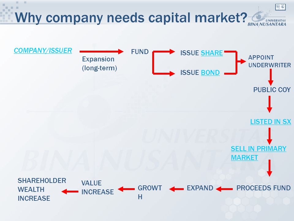 Why company needs capital market? PUBLIC COY LISTED IN SX PROCEEDS FUND COMPANY/ISSUER FUND Expansion (long-term) ISSUE SHARESHARE ISSUE BONDBOND EXPA