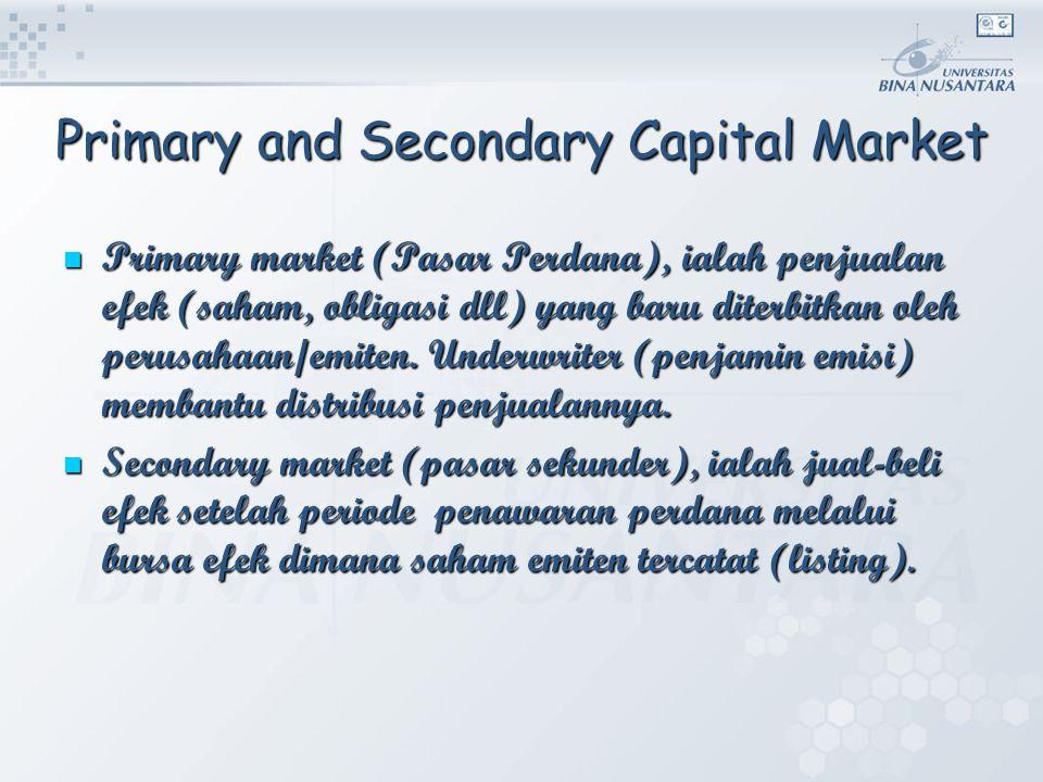 Primary and Secondary Capital Market Primary market (Pasar Perdana), ialah penjualan efek (saham, obligasi dll) yang baru diterbitkan oleh perusahaan/