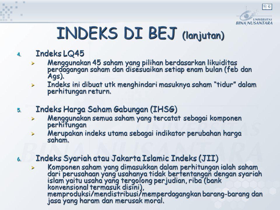 INDEKS DI BEJ (lanjutan) 4. Indeks LQ45  Menggunakan 45 saham yang pilihan berdasarkan likuiditas perdagangan saham dan disesuaikan setiap enam bulan
