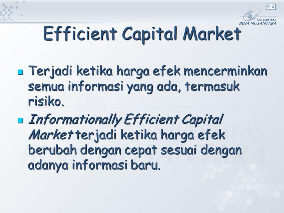 Efficient Capital Market Terjadi ketika harga efek mencerminkan semua informasi yang ada, termasuk risiko. Terjadi ketika harga efek mencerminkan semu