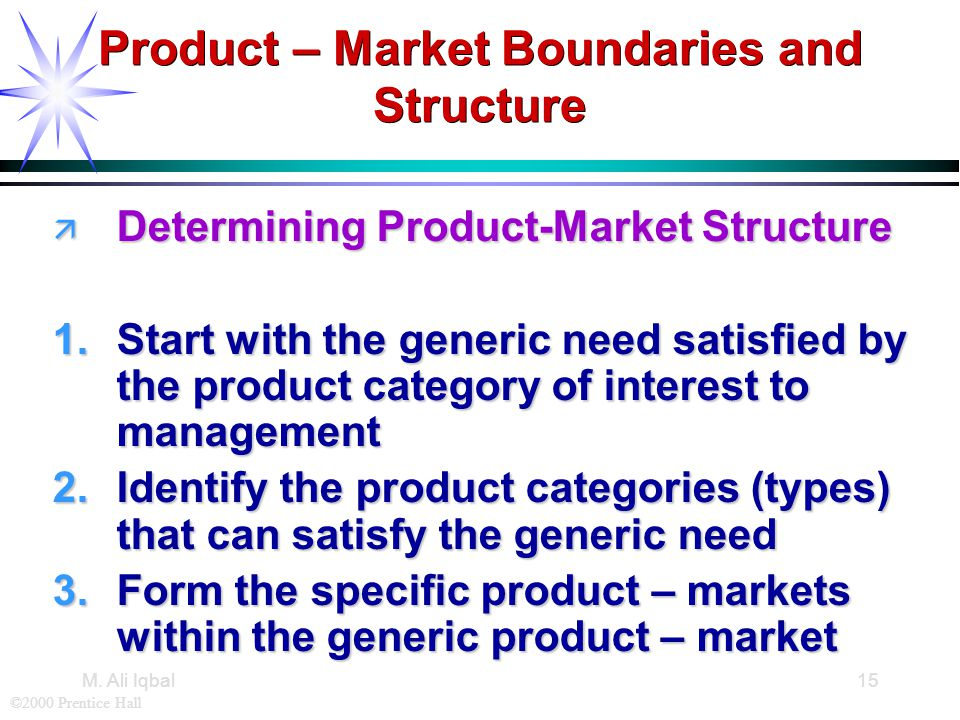 ©2000 Prentice Hall M. Ali Iqbal15 Product – Market Boundaries and Structure ä Determining Product-Market Structure 1.Start with the generic need sati