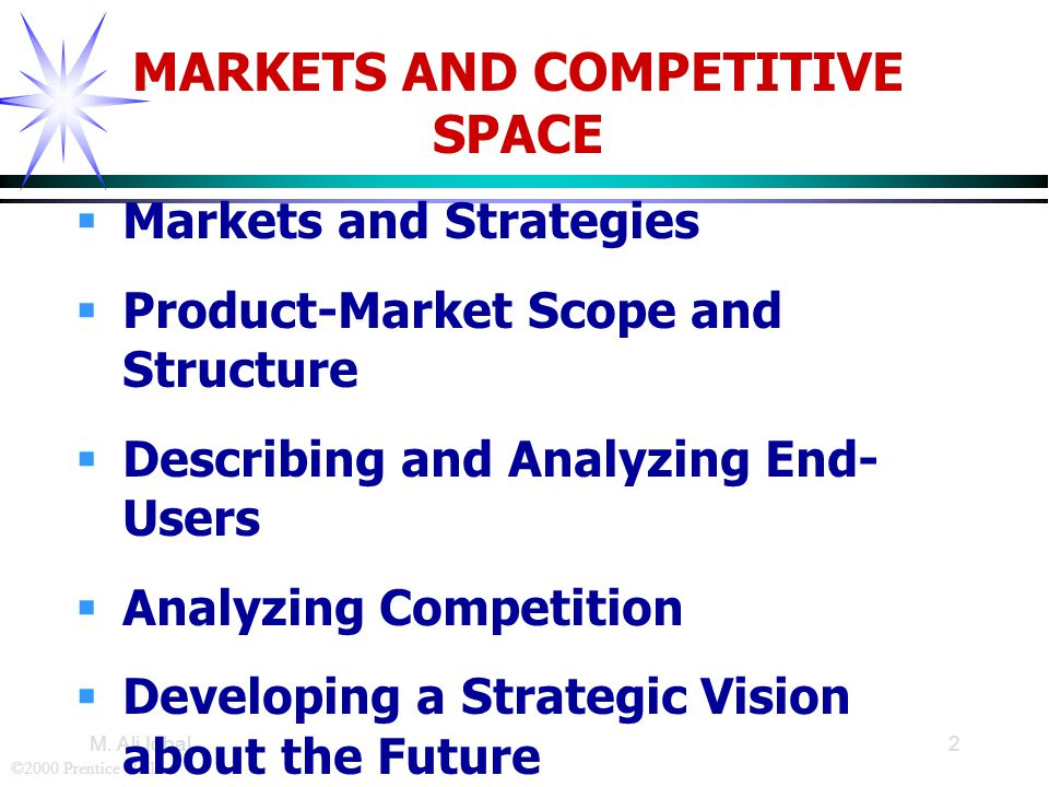 ©2000 Prentice Hall M. Ali Iqbal2 MARKETS AND COMPETITIVE SPACE  Markets and Strategies  Product-Market Scope and Structure  Describing and Analyzi