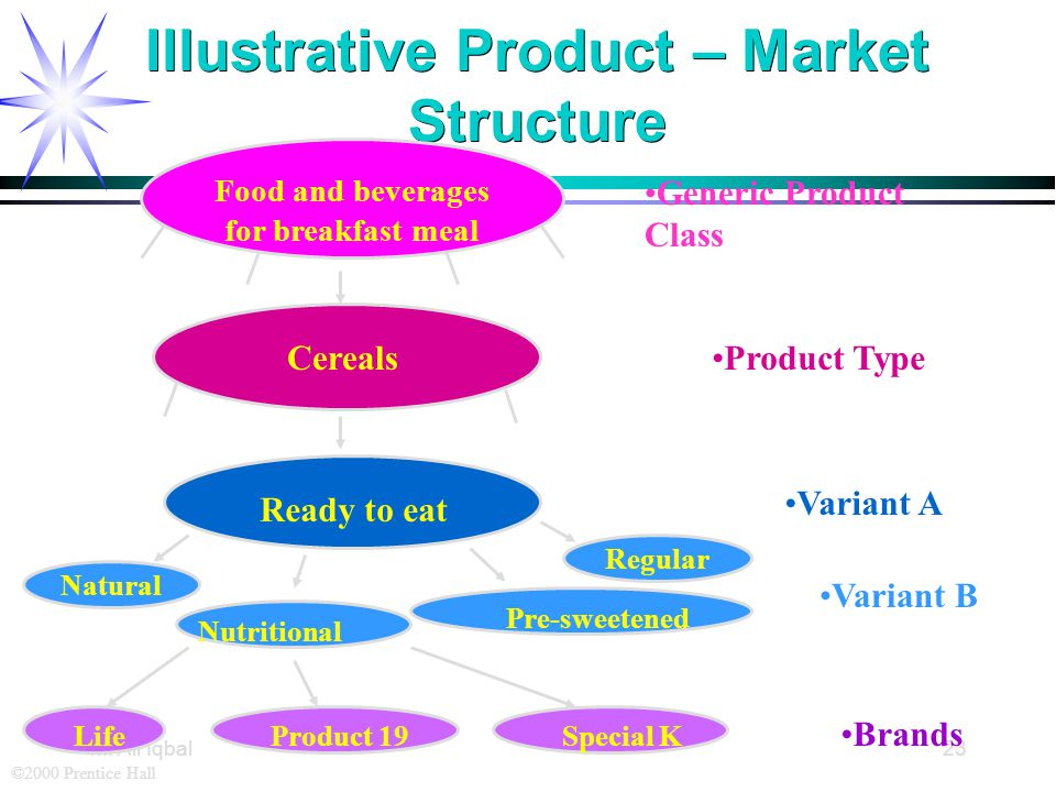 ©2000 Prentice Hall M. Ali Iqbal23 Illustrative Product – Market Structure Generic Product Class Product Type Variant A Regular Variant B Brands Food
