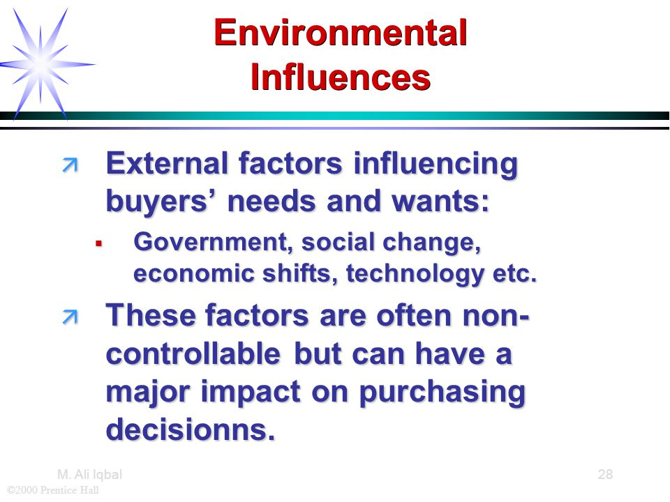 ©2000 Prentice Hall M. Ali Iqbal28 Environmental Influences ä External factors influencing buyers' needs and wants:  Government, social change, econo