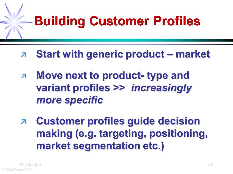 ©2000 Prentice Hall M. Ali Iqbal29 Building Customer Profiles ä Start with generic product – market ä Move next to product- type and variant profiles