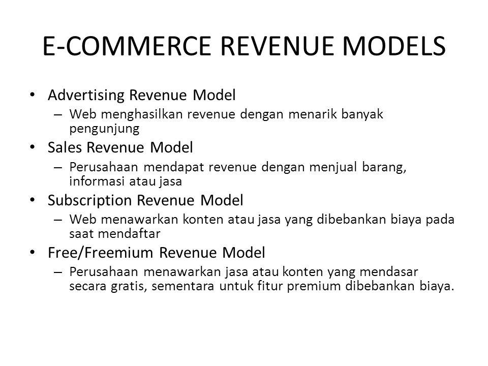 E-COMMERCE REVENUE MODELS Advertising Revenue Model – Web menghasilkan revenue dengan menarik banyak pengunjung Sales Revenue Model – Perusahaan menda