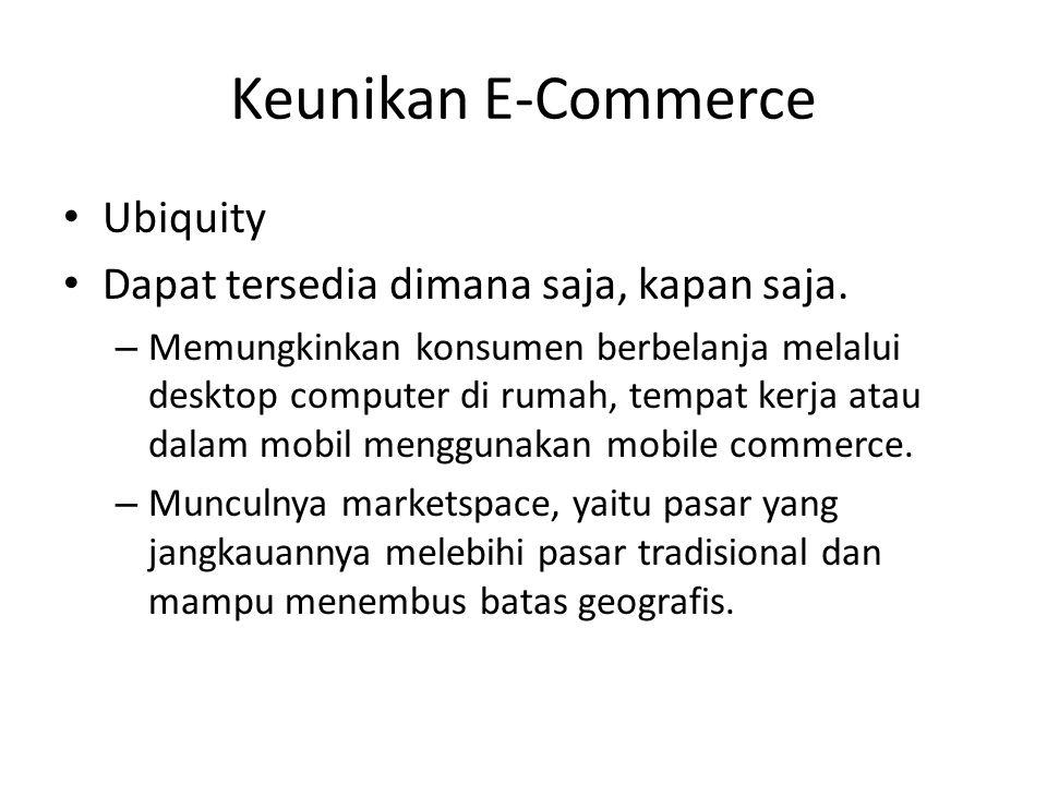 Keunikan E-Commerce Ubiquity Dapat tersedia dimana saja, kapan saja. – Memungkinkan konsumen berbelanja melalui desktop computer di rumah, tempat kerj