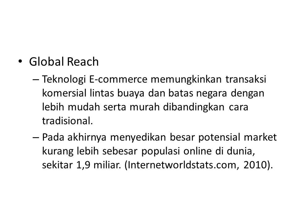 Global Reach – Teknologi E-commerce memungkinkan transaksi komersial lintas buaya dan batas negara dengan lebih mudah serta murah dibandingkan cara tradisional.