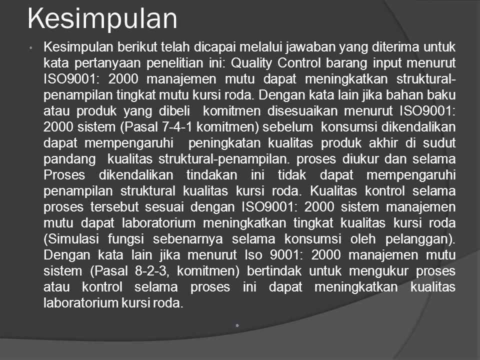 Kesimpulan Kesimpulan berikut telah dicapai melalui jawaban yang diterima untuk kata pertanyaan penelitian ini: Quality Control barang input menurut ISO9001: 2000 manajemen mutu dapat meningkatkan struktural- penampilan tingkat mutu kursi roda.