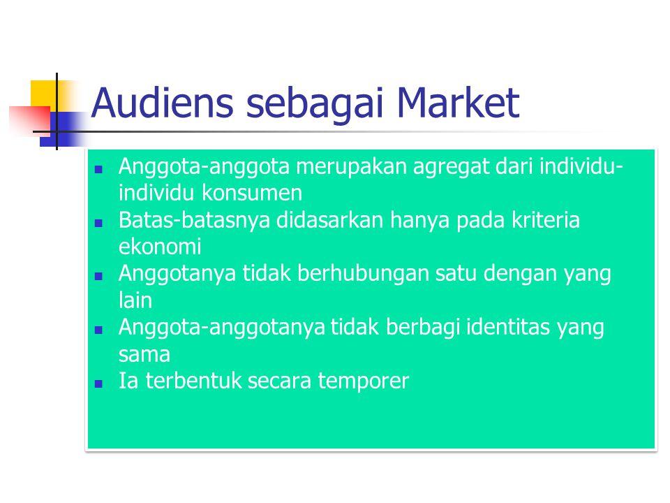 Audiens sebagai Market Anggota-anggota merupakan agregat dari individu- individu konsumen Batas-batasnya didasarkan hanya pada kriteria ekonomi Anggot