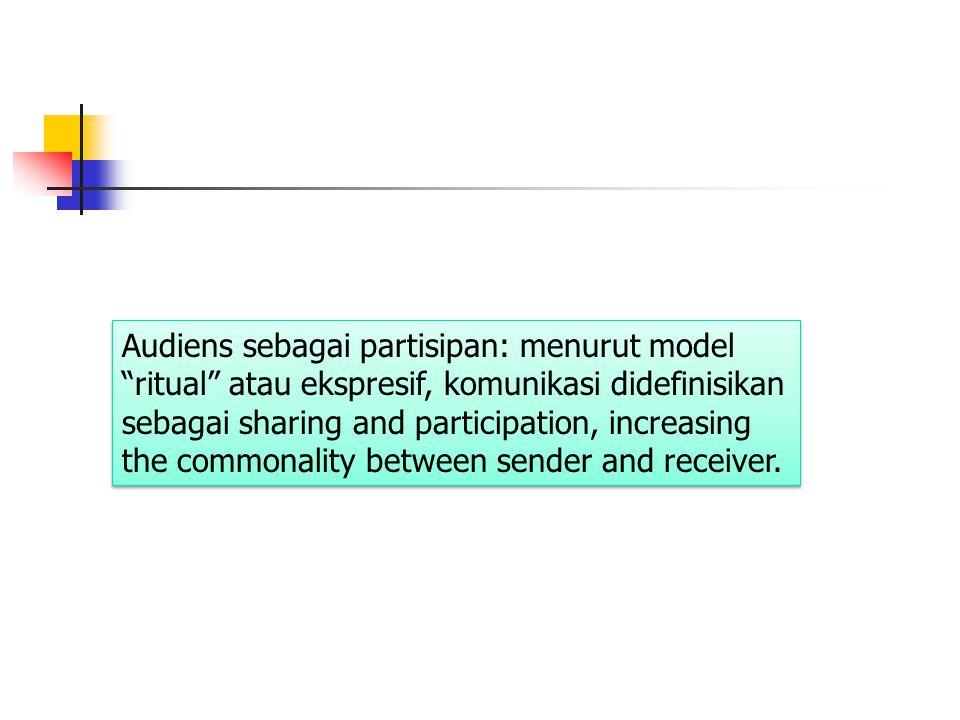 """Audiens sebagai partisipan: menurut model """"ritual"""" atau ekspresif, komunikasi didefinisikan sebagai sharing and participation, increasing the commonal"""
