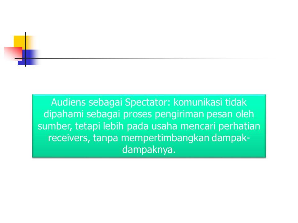 Audiens sebagai Spectator: komunikasi tidak dipahami sebagai proses pengiriman pesan oleh sumber, tetapi lebih pada usaha mencari perhatian receivers,
